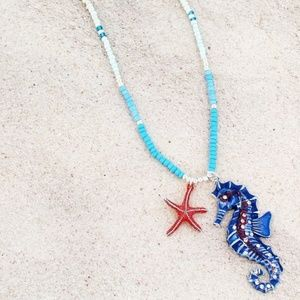 Blue Multi-Color Beaded Crystal Seahorse Necklace